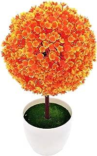 Mmrm Mini Fake Plant Pot Ornament Potted Plastic Ball Topiary Artificial Tree Home Decor Orange