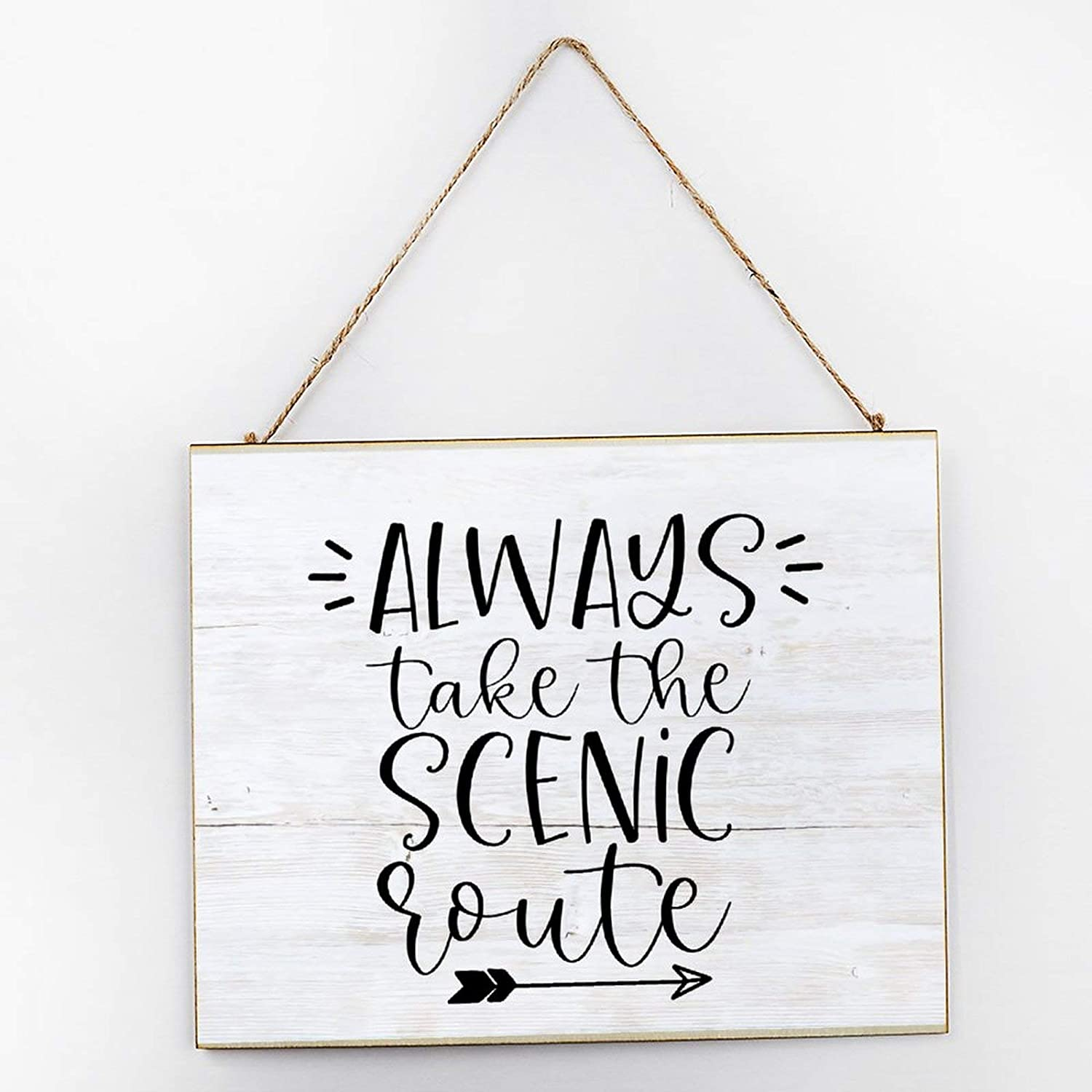 NOT BRANDED Always Take The Scenic Route Rustic Made Vintage Wooden Decor Wood Sign 10×12×2 inch