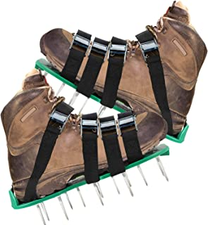 KedsHome Lawn Aerator Shoes 4 Metal Buckles and Adjustable Straps, Strengthened Sole Design Lawn Sandals. Heavy Duty 26 Large Spikes, 2.2 inches for Aerating Your Yard