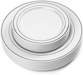 Signature Home 193709 Disposable Plastic Plates, 50 Pack, Silver Trim