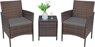Greesum 3 Pieces Outdoor Patio Furniture Sets, PE Rattan...