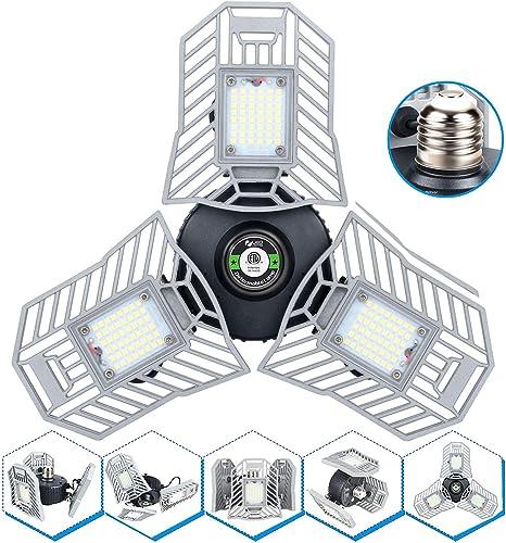 Illuminator 360 Led Garage Light 60W Garage Light 6000LM Tribright Screw in Light Bulb 3 Panels Ceiling Light Fixture...