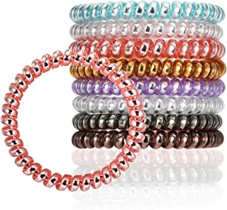VEGOLS Spiral Hair Ties No Crease, 8Pcs Traceless Colorful Phone Coil Hair Ties, Telephone Cord Hair Ties Elastics Accessories for Women Girls, High Toughness 1.96〃x 0.19〃 Fluorescent Series
