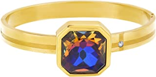 Steve Madden Yellow Gold-Tone Octagon Rhinestone Accent Bangle Bracelet For Women, one size (SMB500251GD)