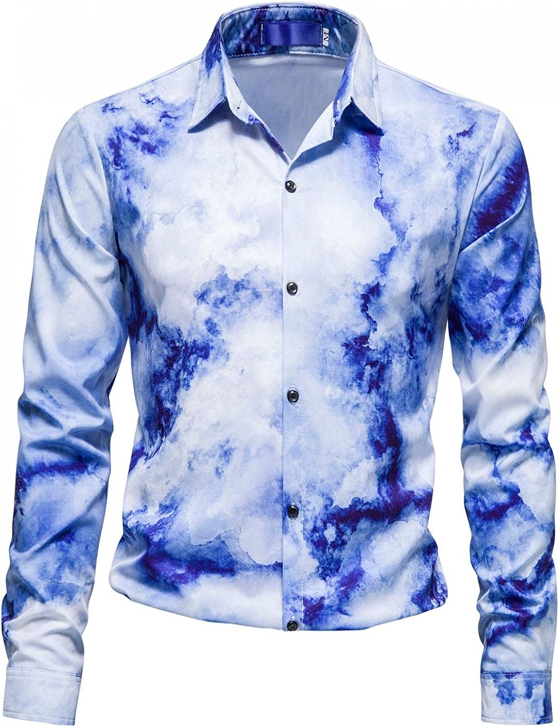 Mens Casual Shirts Long Sleeve Tie-Dye Print Button Down Tops Casual Loose Fit Tees Soft Comfy Cotton Blouse