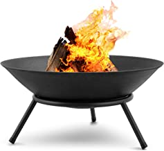 Amagabeli Fire Pit Outdoor Wood Burning 22.6in Cast Iron Firebowl Fireplace Heater Log Charcoal Burner Extra Deep Large Ro...