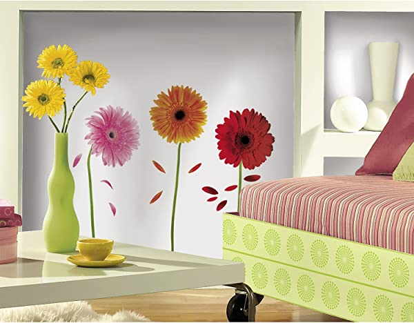 RoomMates Small Gerber Daisies Peel And Stick Wall Decals