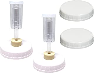 Jarming Collections - Fermentation Lid Kit - 2 Wide Mouth Fermenting Lids with Airlocks and Stoppers Includes 2 Storage Lids and Instructions (Lids Fit On Wide Mouth Glass Mason Jars)