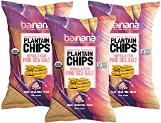 Barnana Organic Plantain Chips - Himalayan Pink Salt- 5 Ounce, 3 Pack - Salty, Crunchy, Thick Sliced Snack - Best Chip For Your Everyday Life - Cooked in Premium Coconut Oil