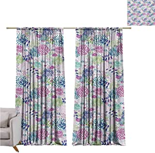 Andrea Sam Thermal Insulated Blackout Window Curtain Nature,Abstract Bedding Plants in Lively Colors Garden Rural Summer Field in Country Theme,Multicolor W120 x L108 inch,Room Darkening