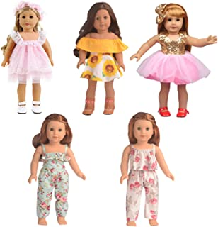 Bili 18 Inch Doll American Girl Doll Clothes, 5 Outfit Doll Accessories Compatible with 18 Inch...