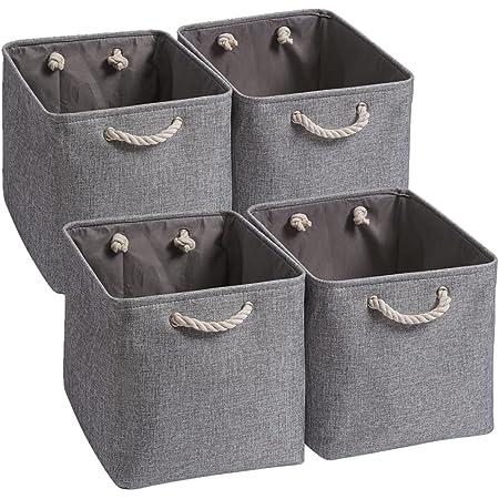 Mangata Boîtes de Rangement,(33x38x33cm)Grandes Paniers de Rangement pliable en toile avec poignées en corde Pour Vêtements / étagère(Gris, Lot de 4)