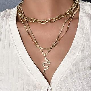 YERTTER Men Punk Layering Snake Bone Choker Necklace Snake Pendant Chunky Chain Necklace Jewelry Unisex