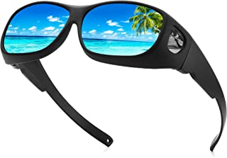 Sunglasses Fit Over Glasses, Polarized 100% UV Protection Wrap-around Sunglasses for Men & Women Driving