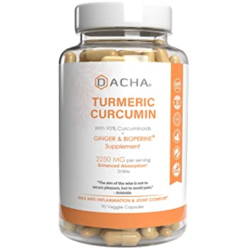 Triple Strength Tumeric Curcumin Supplement - 2250mg Joint Support Supplements Turmeric with Black Pepper Bioperine Ginger 95% Curcuminoids Anti Inflammatory Capsules Antioxidant Back Pain Relief
