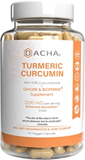 Triple Strength Tumeric Curcumin Supplement - 2250mg Joint Support Supplements Turmeric with Black Pepper Bioperine Ginger...