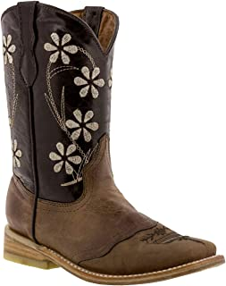Girl's Dark Brown Floral Embroidered Cowgirl Boots Square Toe 13 Youth