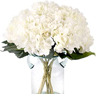 Fake White Flowers Artificial Silk Hydrangea Flowers Bouquets Faux Hydrangea Stems 3Pcs for Home Table Centerpieces Weddin...