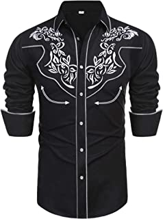 Daupanzees Men's Long Sleeve Embroidered Shirts Slim Fit Casual Button Down Shirt