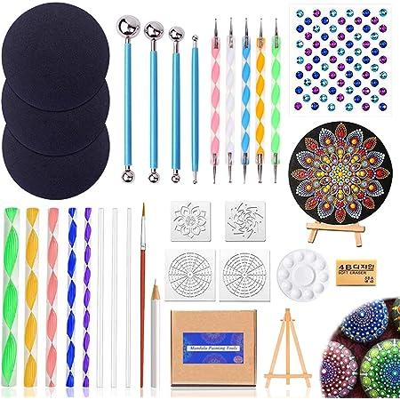 31PCS Mandala Dotting Outils Pinceaux Kit, Outil Pointage d'art d'Ongle Peinture pour Mandala sur Galet Pierre Pointillage Pinceaux Palette Pochoir Art Gaufrage Artisanat Poterie