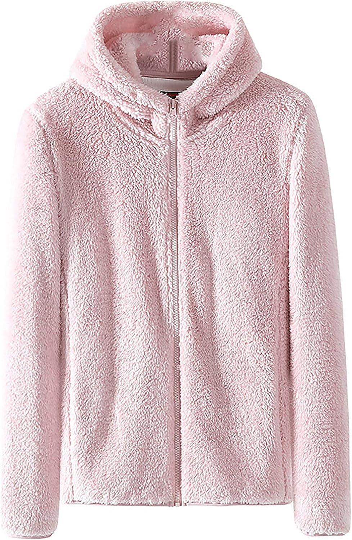 Women's Stand Collar Fleece Zip Up Coat Plus Size Solid Plush Long Sleeve Warm Jacket Casual Sweatshirt Tops