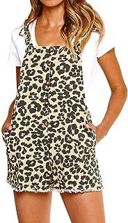 b5520fdd4830 Women s Bib Overalls Casual Short Pinafore Bib Overall Dress Summer Beach  Party Romper Jumpsuit with Pockets