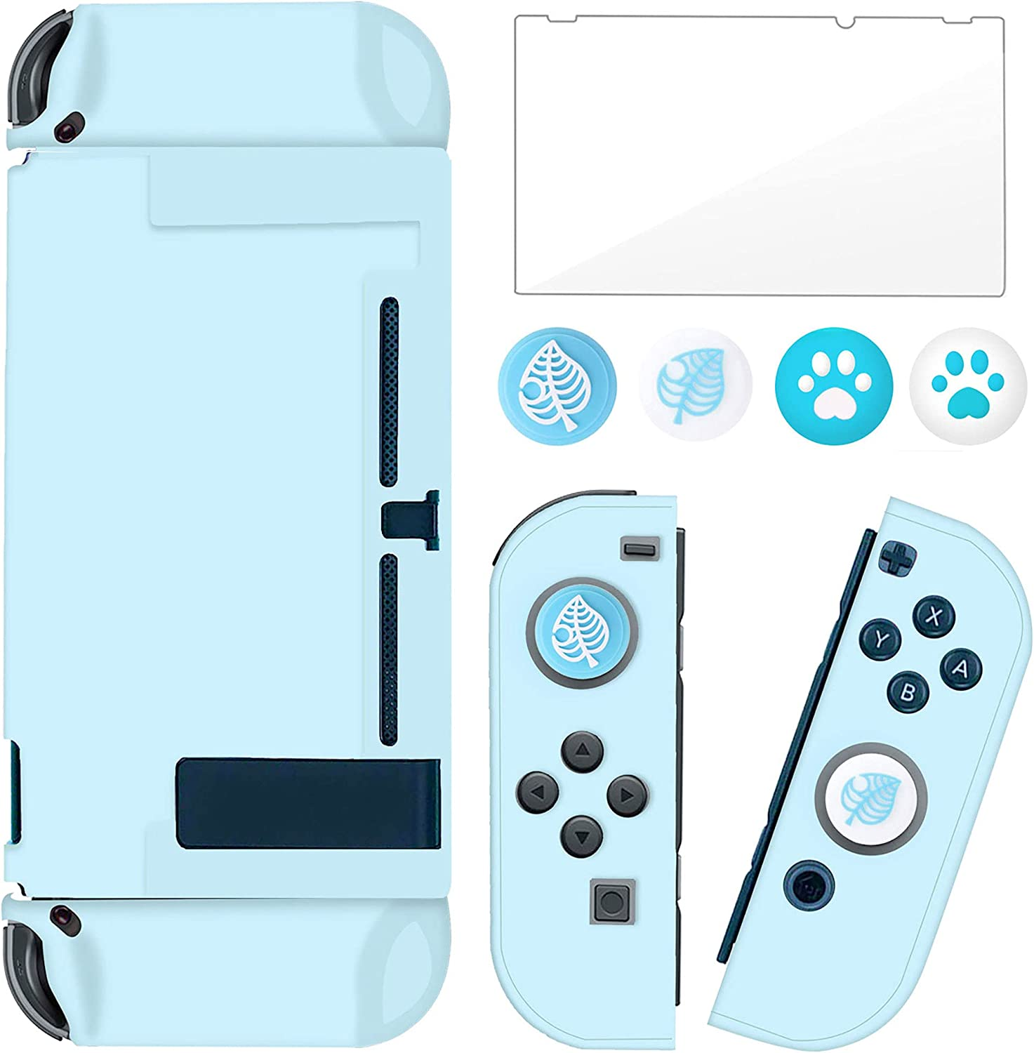 BRHE Dockable Switch Protective Case Cover for Switch with Glass Screen Protector, Anti-Scratch Shock-Absorption Grip Cover-Blue
