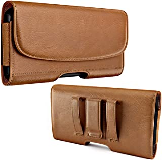 PiTau Cell Phone Holster for iPhone SE(2020), iPhone 7 Belt Case with Metal Belt Clip and Belt Loops Phone Pouch Holder Fits Apple iPhone SE 6 6S 7 8 with a Slim Case on - Built in Card Slot (Brown)