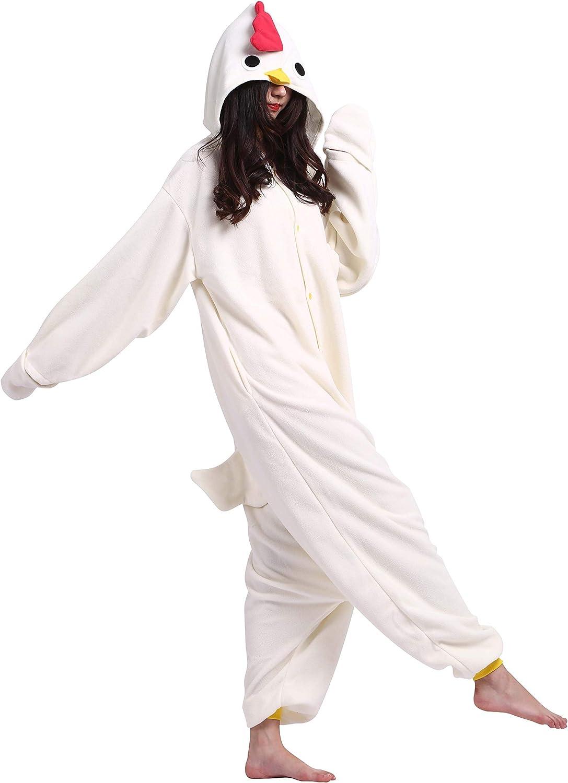 Fandecie Pijama Blanco Gallo, Onesie Modelo Animales para Adulto Entre 1,60 y 1,75 m Kugurumi Unisex.