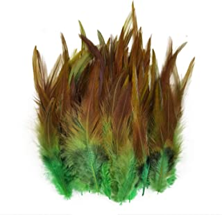 100PCS Saddle Hackle Rooster Feather for Crafts, 5-7 inch Natural Pheasant Neck Feathers DIY Pendant Earrings Dream Catche...