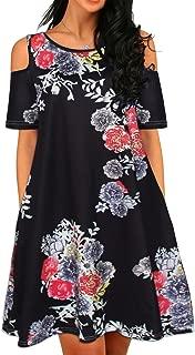 Women Plus Size Dress Cold Shoulder Short Sleeve Floral Mini Swing Dress with Pockets