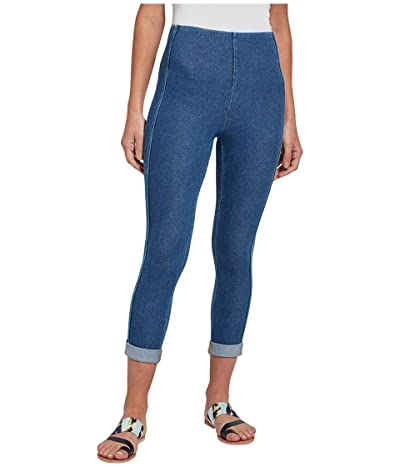 Lysse Venice Cuff Crop Leggings with Side Stripe in Knit Denim (Mid Wash) Women