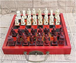 Chess Folding Wood Chess Chinese Retro Terracotta Warriors Chess Wood Do Old Carving Resin Chessman Christmas Birthday Gift Chess set