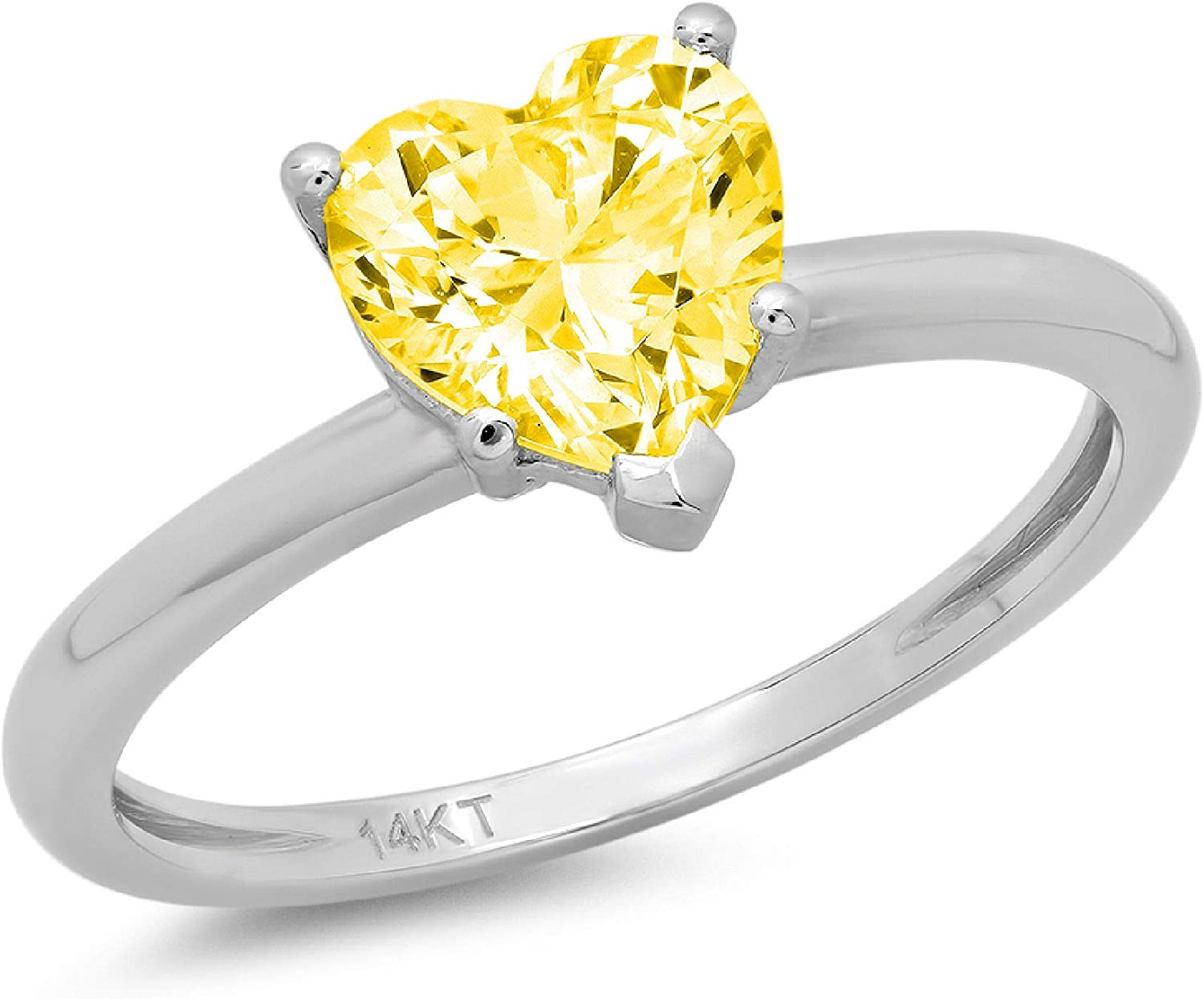 Clara Pucci 1.0 ct Brilliant Heart Cut Solitaire Yellow Simulated Diamond Gem 5-Prong Engagement Wedding Bridal Promise Anniversary Ring Solid 18K White Gold for Women