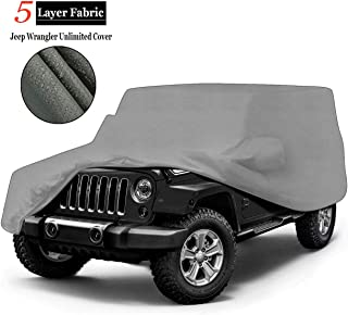 iiSPORT 5-Layer Waterproof Jeep Wrangler Unlimited SUV Cover - UV Protection Breathable 2-Door Car Cover Custom Fit 2007-2018, 1-Year Warranty, Last The Life of Vehicle