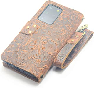JJNUSA Handmade Genuine Distressed Leather Wallet Case for Samsung Galaxy S20 Ultra 5G Flip Cover