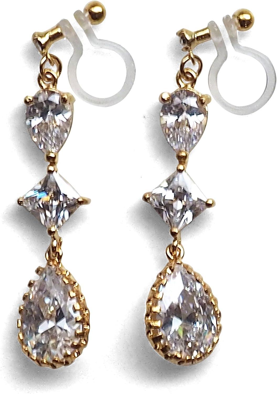 Miyabi Grace Elegant Cubic Zirconia Crystal Invisible Clip On Earrings Dangle Women Wedding Non Pierced Clip On Teardrop CZ BridalEarrings