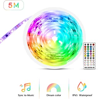 DreamColor LED Strip Lights Music Sync, TASMOR 16.4ft Color Changing Light Strips with Remote IP65 Waterproof Chasing Effect 5050 LED Strip for Home, Bar, Parties