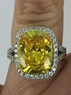 Amazing 12 CT Canary & Clear CZ 925 Silver Cocktail Statement Ring Size 6.25 NJ-170