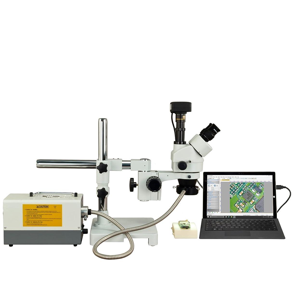 哀れな頬骨軽減するOMAX 150Wファイバリングライト付き2.1倍-90X 18MP USB3ズーム三眼鏡シングルバーブームステレオ顕微鏡