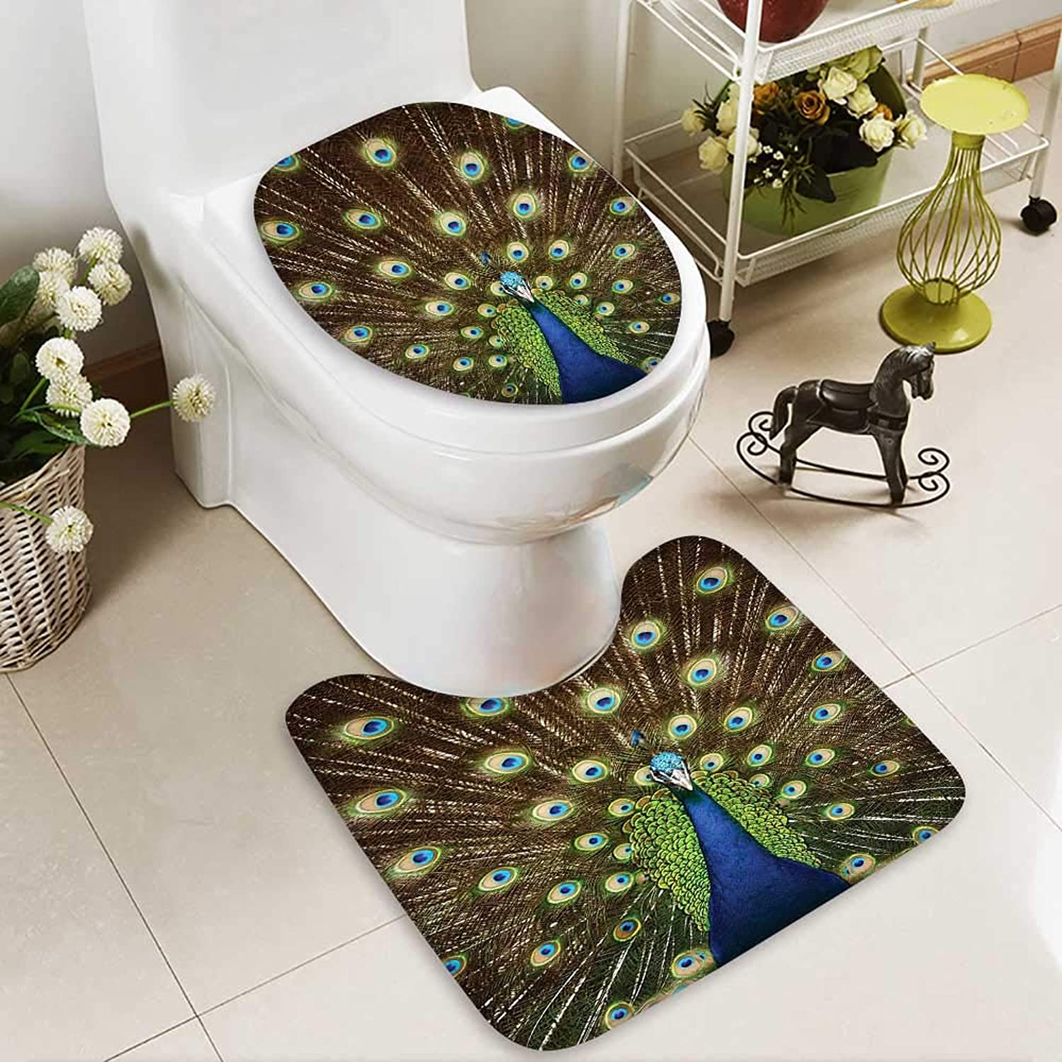 SOCOMIMI U-Shaped Toilet Mat Portrait Peacock Feathers Out Vibrant colors Birds Summertime Garden Washable Non-Slip