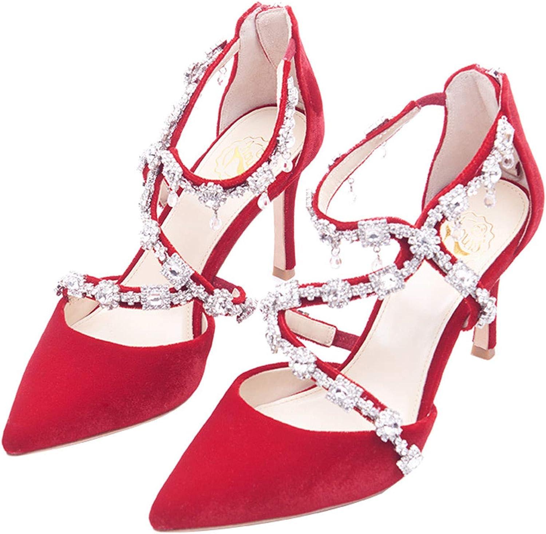 CJJC Frauen Spitz Hochzeit Schuhe Mit Strass Mode Reine Farbe High Heels Ideal Für Brautjungfer Zeremonie Party Datum Schuhe