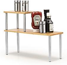 Cook N Home 02650 Counter Storage Shelf Organizer, Rectangle, 2 Tier, Bamboo