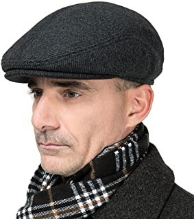 MSFGJZM Men Fall Winter Peaked Flat Cap Adjustable Earmuffs Driving Cap Beret Hat