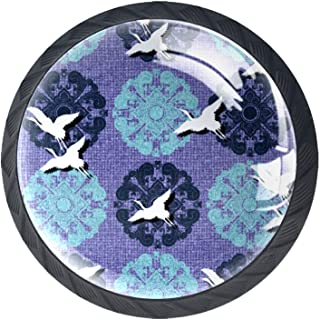 Boutons de tiroir Poignées d'armoire rondes Pull pour bureau à domicile cuisine commode armoire décorer,Oiseau blanc