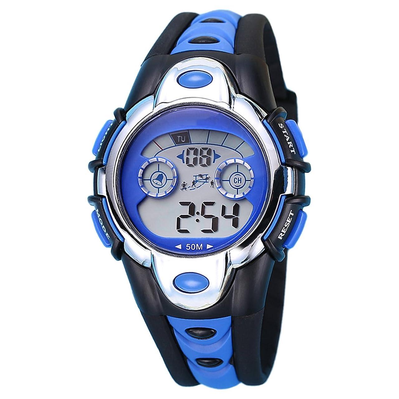 常習者懐疑論怪しい男の子のスポーツデジタル腕時計キッズアウトドア防水電子時計LEDアラームストップウォッチ (ブルー)