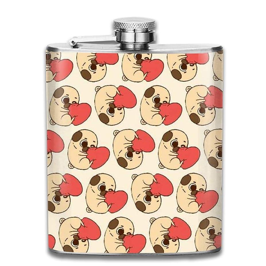 祝福するデンマーク語会員パグ ハートフラスコ スキットル ヒップフラスコ 7オンス 206ml 高品質ステンレス製 ウイスキー アルコール 清酒 携帯 ボトル