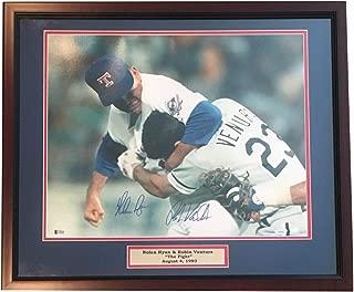 Nolan Ryan Robin Ventura Dual Autographed MLB Signed Baseball 16x20 Framed Fight Photo Beckett TRISTAR COA
