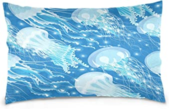 AngelCitya Beautiful Glowing Jellyfish Blue Polyester Pillow Case,Cover with Zipper Pillowcase Twice Sides Printing Size 20x30 Inch,for Bedroom Living Room