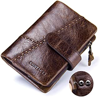 Mens Brown Leather Trifold Wallet - Leather Wallets for Men Personalized - Money Clip Wallets for Men with ID Window - Inc...